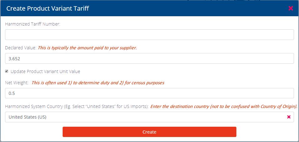 Create Product Variant Tariff Pop up