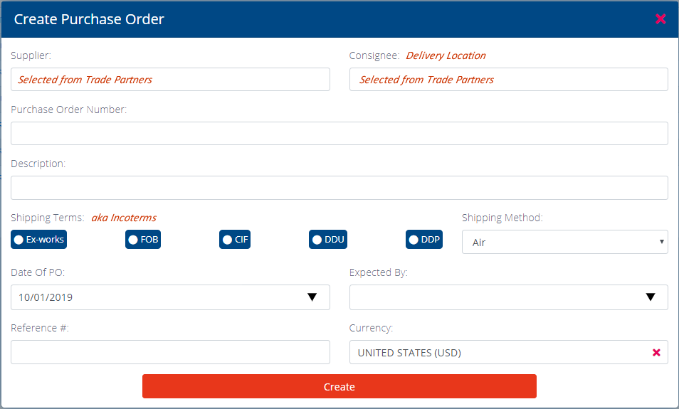 Create Purchase Order Pop up